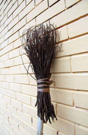 broom handle: natural working tool professional cleaner streets Stock Photo