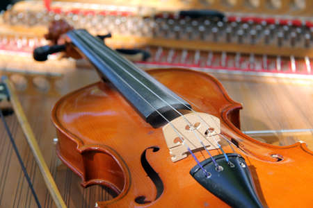 bowed: stringed bowed musical instrument is resting before a performance