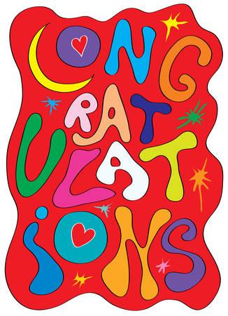 congratulations: emocionales sinceras felicitaciones Vectores