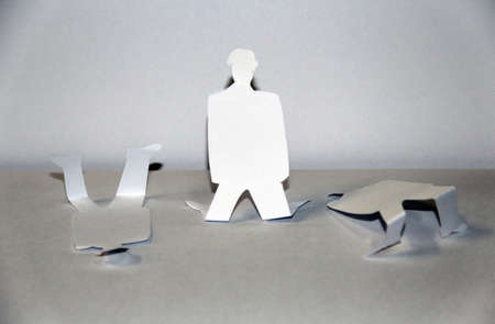 hostages: silhouette of a man lost his freedom and left alone