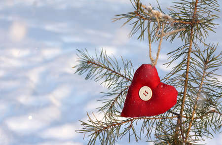 Christmas tree decorated with heart and soul Stock Photo