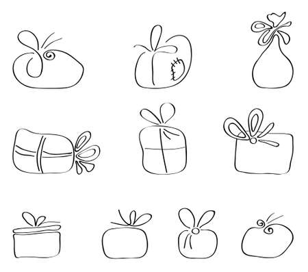 set of illustrations of gift packages of different abstract