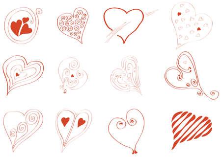conjunto de ilustración de corazones abstractos