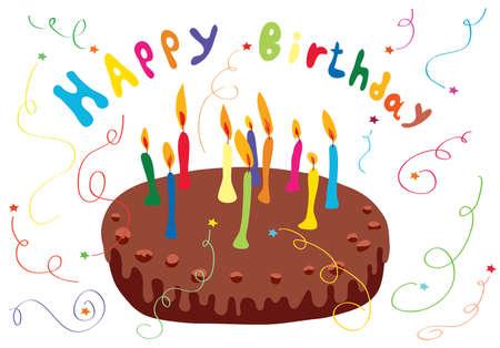 festif gâteau au chocolat avec des bougies et des feux d'artifice et serpentine