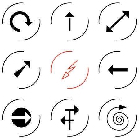 different directions: set of icons of arrows pointing different directions