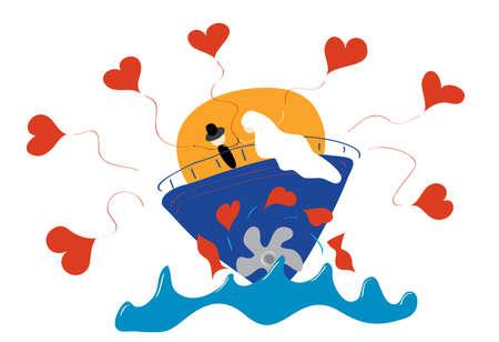 loving couple: loving couple meets sunrise on a ship during his honeymoon
