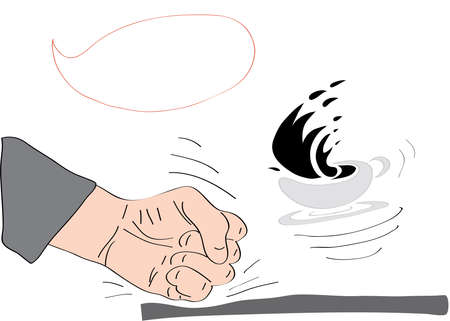 spilling: spilling coffee on the table with his fist hitting the Illustration
