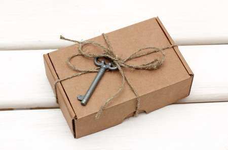 key box: gift box with the old key attachment Stock Photo
