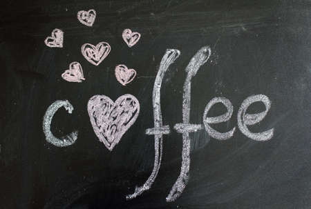 hearts picture and lettering Coffee chalk on a blackboard