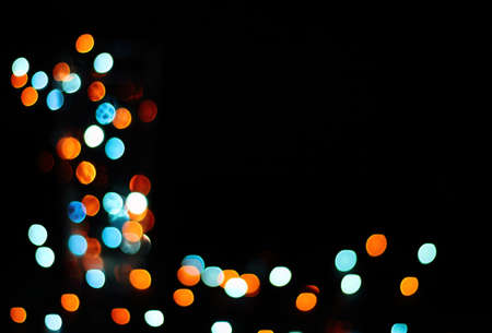 background with festive lights golden and turquoise colors Stock Photo