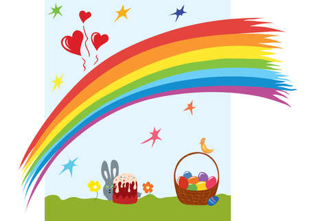 card with Easter eggs in a basket, bird, rabbit, rainbow background Illustration