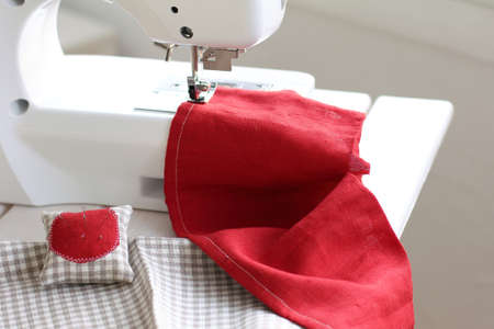 homemade soft cushion for needles to sew background Stock Photo