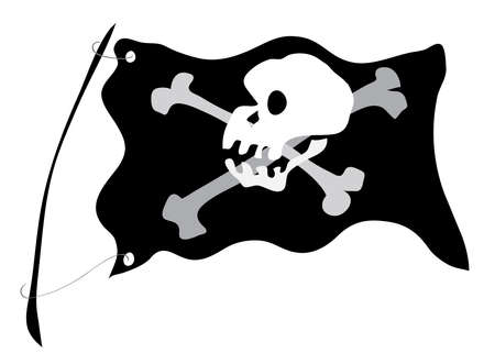 crusades: developing flag with skull and crossbones Illustration