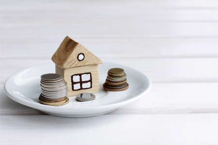 housing lot: Background concepts house with the coins on a plate