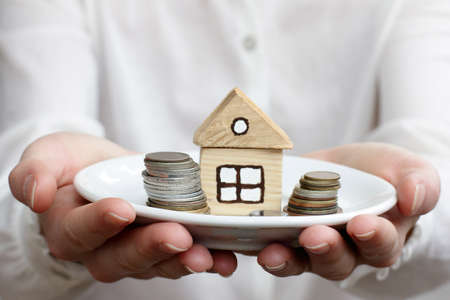 housing lot: Dish with the house and the money in your hands Stock Photo