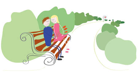 loving: loving couple relaxing in the green park on a bench Illustration