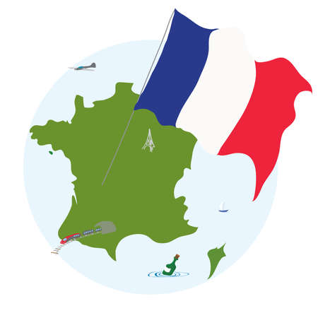 french flag: territory of the French Republic with flag Illustration