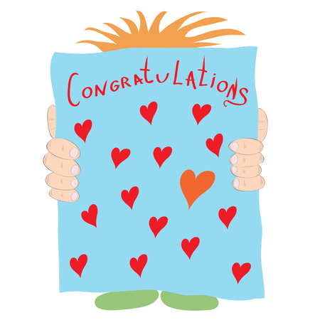 huge poster card with hearts and greetings in the hands Illustration