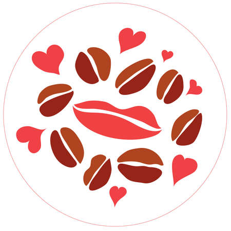 seduce: imprint lips with coffee beans and hearts