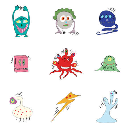 fictional: set of fictional monsters colored microbes bacteria viruses