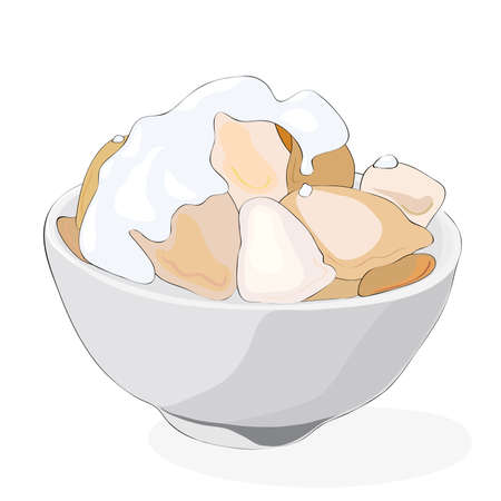 grilled dumplings with sour cream in a bowl