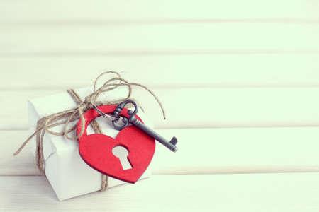 dedicate: romantic gift with hearts and retro key Stock Photo