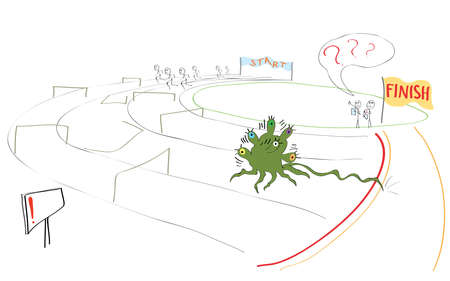no correr: caricatura de un atleta no es como ellos muy r�pidamente corre a la l�nea de meta Vectores