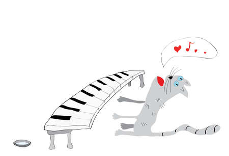 caricature cat: caricature cat with a synthesizer plays and sings about love
