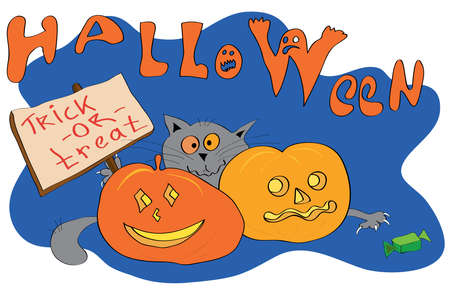 Cat hiding behind pumpkins with a sign trick or treat and reaches for candy on the background of the inscription Halloween
