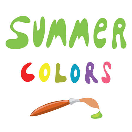 paint drop: vector summer colors and inscription brush with green paint drop summer colors at the tip of a brush Illustration