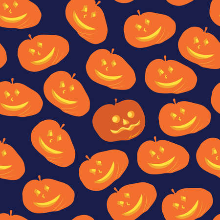 coven: vector illustration seamless pattern with funny pumpkins and one different from the other, on a dark background  coven night Halloween pumpkin