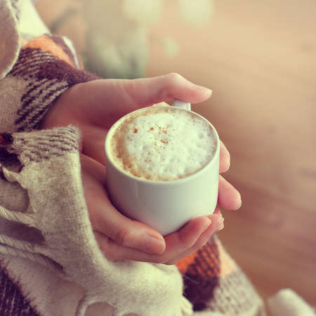 frothy cappuccino with cinnamon, hands are bundled up in a warm blanket  warm retro coffee break