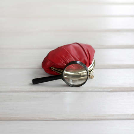 background with red purse and looking out his coin under a magnifying glass  small monetary savings