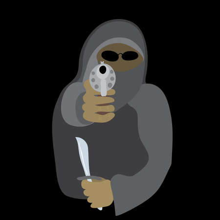 threat: vector armed with a knife and a gun thug in a mask on a black background  dangerous frightening threat