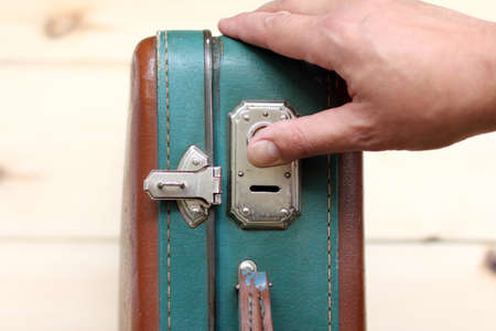 stow: open padlock retro suitcase top view  open or close suitcase