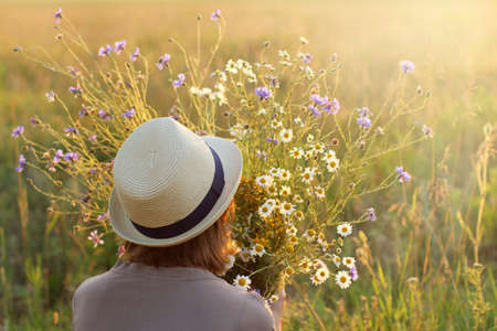consist: girl holds in hands Large bouquet consist of wildflowers at sunset  summer floral retro mood