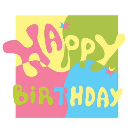Vector colorful letters on a background of a square divided into parts  congratulation happy birthday Illustration