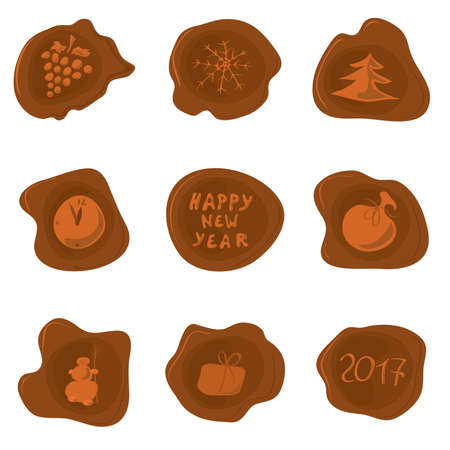 sealing: set of vector wax seal with different pictures on the theme of New Year  for sealing holiday greetings