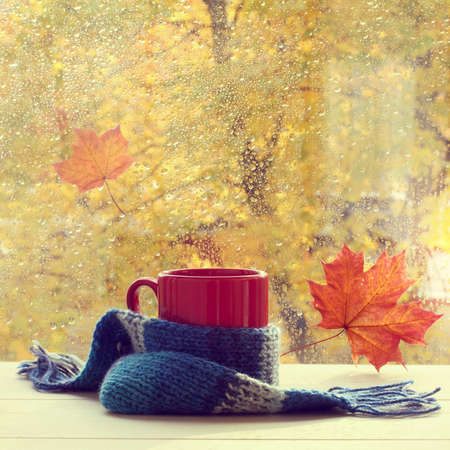 home comforts: red mug in a woolen scarf is on the table by the window with traces of rain drops  autumn warming drink