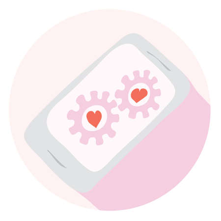 vector mobile phone icon to chat concept for dating on screen  endless day followers Illustration