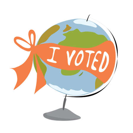 vector layout globe wrapped with a ribbon with the inscription  I voted