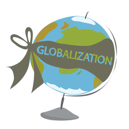 topografia: vector model of the globe tied with a ribbon with the inscription  GLOBALIZATION Vectores