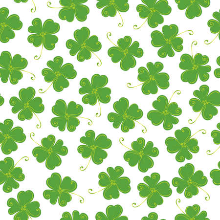 patric: vector seamless pattern of clover with four leaves on a white background  lucky St Patricks Day Illustration