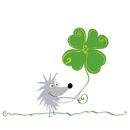 cheerful hedgehog with four-leaf clover is walking across the lawn  most successful day Illustration