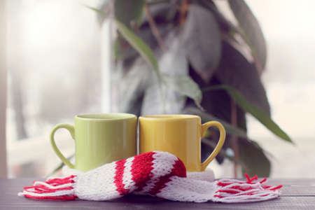 pair of colored cups standing on a table wrapped in a scarf against the window  warming atmosphere for meetings   Stock Photo