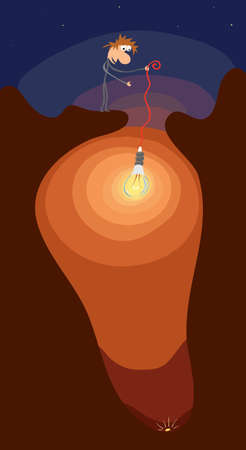 man with a light bulb illuminates at the bottom of the cave shine gold coin  creative idea for searching profits
