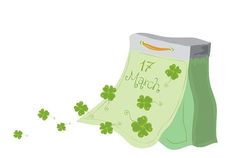 vector tear-off calendar with flying away clover leaves on a white background  very lucky St Patricks Day  Stock Photo