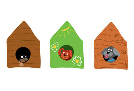happier: Three dogs look out of their booths  in an ecological house live happier.