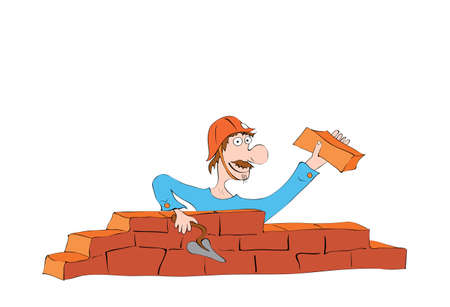 hilarious mustached builder in a helmet laying a wall of bricks  construction work