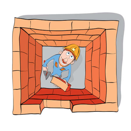 Cheerful builder puts the last brick in the wall  basic mistakes in construction Illustration